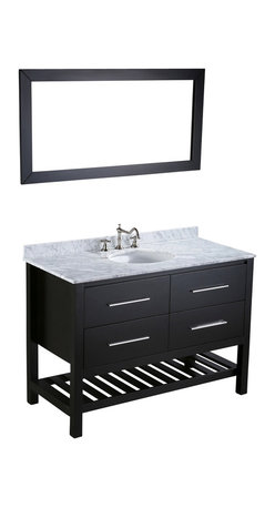 """Bosconi - 47"""" Bosconi SB-250-4 Vanity Set - Here's a vanity with plenty of room to hold your bathroom essentials. Store towels, folded terrycloth robes or oversized toiletries on the ample, slated storage rack and smaller items inside the soft-closing drawers. A coordinating mirror, stunning white Carrara marble countertop and silver-tone hardware complete this contemporary set."""