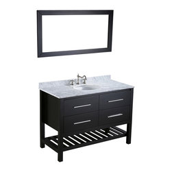 Bosconi - Bosconi Vanity Set - Here's a vanity with plenty of room to hold your bathroom essentials. Store towels, folded terrycloth robes or oversized toiletries on the ample, slated storage rack and smaller items inside the soft-closing drawers. A coordinating mirror, stunning white Carrara marble countertop and silver-tone hardware complete this contemporary set.