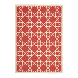 """Safavieh - Courtyard Red/Brown Area Rug CY6032-248 - 5'3"""" x 7'7"""" - Safavieh takes classic beauty outside of the home with the launch of their Courtyard Collection. Made in Belgium with enhanced polypropylene for extra durability, these rugs are suitable for anywhere inside or outside of the house. To achieve more intricate and elaborate details in the designs, Safavieh used a specially-developed sisal weave."""