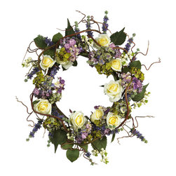 Nearly Natural - 24in. Hydrangea Rose Wreath - Capture the beauty of spring with this dynamic combination of hydrangeas and roses. This luminous wreath makes the perfect centerpiece for your living room wall or display above a fireplace. A mix of blooming roses and pastel colored hydrangea petals create a look that is second to none. Surrounded by natural looking twigs and a dusting of berries, this authentic work of art will have the birds and bees flocking at your door.
