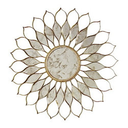 """Worlds Away - Worlds Away Daisy Silver Leafed Mirror - Fresh as a daisy with a champagne-hued starburst of antiqued, silver-leaf """"petals,"""" this round wall mirror will bring a smile to your face each time you take a look."""