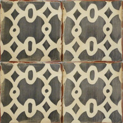 Tabarka - Paris Metro 7 - European style, hand crafted terra cotta tile in charcoal on off white. Can be used on a wall or floor.