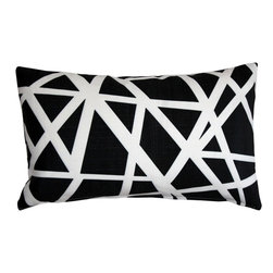 "Pillow Decor - Pillow Decor - Bird's Nest Black Throw Pillow 12X20 - This versatile geometric accent pillow is both modern and elegant. The bold bird""s nest pattern featuring dynamic white stripes on a black background will add contemporary flair to your home decor. The Bird""s Nest Throw Pillow is a great addition to any contemporary designed room. The pillow is perfect as a standalone accent piece or can be used to creatively tie in other decor pieces such as abstract art objects. The bird""s nest design is printed on both sides on an indoor/outdoor spun polyester fabric."