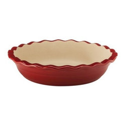 NaturalStone Handcraft 9-Inch Deep Dish Pie Pan, Red