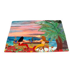 """xmarc - Mermaid Area Rugs, Mermaids Beach Wine Bar, 96""""X 48"""" - Mermaid wine bar area rugs, art appears on the top side, which is made of a soft plush fabric. Bottom is made of durable white rubber mat with rounded and sewn corners."""