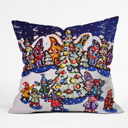 DENY Designs - DENY Designs Renie Britenbucher Oh Christmas Tree Throw Pillow - Wanna transform a serious room into a fun, inviting space? Looking to complete a room full of solids with a unique print? Need to add a pop of color to your dull, lackluster space? Accomplish all of the above with one simple, yet powerful home accessory we like to call the DENY Throw Pillow! Available in four sizes, our throw pillow is made from a medium weight woven polyester with a hidden zipper and removable bun insert.