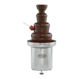 Nostalgia Products - Chocolate Fondue Fountain - Three tier tower with base. Approved for commercial use. Holds upto 6 pounds. Auger style without pump. For standard outlet use. 190 watts power. Easy to use and clean. Warranty: 90 days. Made from stainless steel. Chrome color. 11.5 in. W x 11.5 in. L x 25 in. HThe Commercial Stainless Steel Chocolate Fondue Fountain will impress guests with elegance and style at any special event. This chocolate fountain creates a cascade of sweetness that will add mouth-watering fun to any occasion. Simply pour the recommended amount of melted white or dark chocolate into the base and switch on the motor. Watch as the chocolate is carried to the top of the tower where it flows down each tier in a mesmerizing display. Provide guests with fresh strawberries, marshmallows, pretzels, cookies and other goodies for dipping. Cheese and barbeque sauces may also be used. The fountain is a beautiful addition to any dining table and is an impressive display at events.
