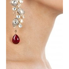 Red crystal pearl earrings available only at Pernia's Pop-Up Shop.