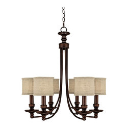 "Lamps Plus - Traditional Midtown Collection Burnished Bronze  27"" Wide Chandelier - Swooping lines of burnished bronze suspend six lights on this interesting chandelier from Midtown Collection by Capital Lighting. Each individual shade helps to provide the perfect amount of light for your personal needs. It looks great in both modern and tradtional decor. Burnished bronze finish. Takes six 60 watt bulbs (not included). Includes 10ft chain and 15ft wire. Canopy is 5"" wide. 27"" wide. 29"" high.  Burnished bronze finish.   Takes six 60 watt bulbs (not included).   Includes 10ft chain and 15ft wire.   Canopy is 5"" wide.   27"" wide.   29"" high."