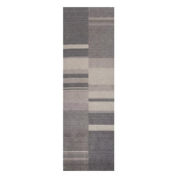 None - Hand-loomed Charcoal Stripes Wool Runner (2'6 x 8') - A unique geometric pattern highlights this hand-loomed wool runner. This area rug features shades of light and dark grey.