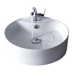 Kraus - Kraus C-KCV-142-15001BN White Round Ceramic Sink and Ventus Basin Faucet - Add a touch of elegance to your bathroom with a ceramic sink combo from Kraus