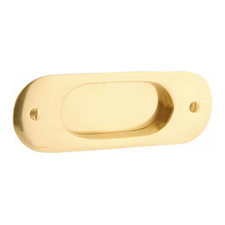 Renovators Supply - Door Pulls Polished Lacquered Brass Door Pull 5 1/16H | 10742 - Pocket Door Pull. Oval pressed sliding door pull- sold individually. Comes complete with mounting screws. Measures 5 1/16 in. H.