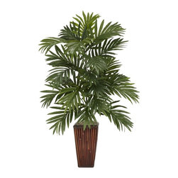 Areca Palm with Bamboo Vase Silk Plant - Experience the lush greenness of Madagascar with this Areca Palm and Bamboo vase. With full leaves reaching out into every direction (as if trying to spread its beauty far and wide), you'll find it easy to imagine you're in your own tropic paradise, no matter your location. Set in a tall rich brown bamboo vase, this Areca Palm brings a bit of island relaxation to any environment Height= 32 in x Width= 20 in x Depth= 17 in