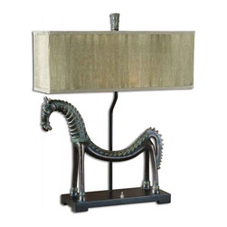 "Uttermost - Tamil Horse Gold Leaf Table Lamp - This Creative Horse Lamp Is Finished In An Olive Bronze With A Verdigris Glaze. The Rectangle Box Shade Is Pleated Silken Champagne. Dimensions: 24""W X 8""D X 30""H; Finish: Heavily Antiqued Gold Leaf with a Bronze Base; Bulbs: Uses Up To 60 Watt Bulbs (Not Included); Lampshade: Rectangular Straight Shade; Weight: 8 lbs; UL Approved"