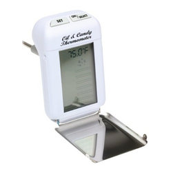 """Maverick - Digital Kitchen Thermometer - Maverick Digital Oil/Candy/ Deep Fryer Thermometer BEEPS and FLASHES when the correct temperature is reached 14 pre-programmed settings for both candy-making and deep-frying Easy digital readout Heat resistant white plastic with 8"""" Stainless Steel probe, clip and fold-up splatter/heat shield Batteries included"""