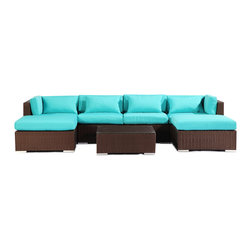 "Kardiel - Modify-It Modern Outdoor Furniture Sofa Patio Napali 7pc Set Espresso, Turquoise - Gather around the Napali 7-piece set for all in one entertaining. Imagine a modern outdoor sectional sofa large enough to host all of your guests in a lineal single piece setting. This extended length sofa features 2 chaise pieces one on each end. The tempered glass top coffee table fits closely enough to accommodate beverages. The flexible nature of Modify-It modular allows for customized reconfiguring of the layout at will. The design origins are Clean European. The elements of comfort are inspired by the relaxed style of the Hawaiian Islands. The Aloha series comes in many configurations, but all feature a minimalist frame and thick, ample modern cube cushions. The back cushions are consistent in shape, not tapered in to create the lean back angle. Rather the frame itself is specifically ""lean tapered"" allowing for a full cushion, thus a more comfortable lounging experience. The cushion stitch style utilizes smooth and clean hand tailoring, without extruding edge piping. The generously proportioned frame is hand-woven of colorfast, PE Resin wicker. The fabric is Season-Smart 100% Outdoor Polyester and resists mildew, fading and staining. The ability to modify configurations may tempt you to move the pieces around... a lot. No worries, Modify-It is manufactured with a strong but lightweight, rust proof Aluminum frame for easy handling."
