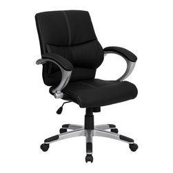 Flash Furniture - Flash Furniture Office Chairs Leather Executive Swivels X-GG-DIM-2-L7369-H - This Black Mid-Back Executive Office Chair features soft leather upholstery with baseball glove stitching. With built-in lumbar support, a well-padded seat and back, and padded loop arms this is sure to bring a stylish addition to your office. Chair features a silver nylon base with black caps that prevent feet from slipping. [H-9637L-2-MID-GG]