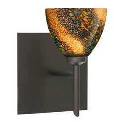Besa Lighting - Divi Bronze One-Light Halogen Square Canopy Wall Sconce with Ceylon Glass - - Ceylon is an inspiring varicolored glass with a look reminiscent to natural quartz, with a glossy polished surface. Blues and reds dominate when unlit, but turn the light on and the earth-tones take over. This d�cor is created by rolling molten glass in small bits of various colors called frit along with various glass powders.� The result is a multi-layered blown glass, where frit color is nestled between an opal inner layer and a clear matte outer layer. This blown glass is handcrafted by a skilled artisan, utilizing century-old techniques passed down from generation to generation. Each piece of this d�cor has its own unique artistic nature that can be individually appreciated.  - Bulbs Included  - Shade Ht (In): 2.625  - Shade Wd/Dia (In): 3.375  - Canopy/Fitter Ht (In): 5  - Canopy/Fitter Dia/Wd (In): 5  - Title XXIV compliant  - Primary Metal Composition: Steel  - Shade Material: Glass  - NOTICE: Due to the artistic nature of art glass, each piece is uniquely beautiful and may all differ slightly if ordering in multiples. Some glass decors may have a different appearance when illuminated. Many of our glasses are handmade and will have variances in their decors. Color, patterning, air bubbles and vibrancy of the d�cor may also appear differently when the fixture is lit and unlit. Besa Lighting - 1SW-1858CE-BR-SQ