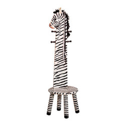 "Teamson Kids - Safari Collection Zebra Stool With Coat Rack - Your kids will love this 2 in 1 coat rack and step stool! Our lovely Safari Collection Zebra Stool makes it every child's dream. Made by Teamson with exceptional quality and flair, this coat rack will let your child hang their coats on something reachable, making them feel a head taller. Perfectly hand carved, and finely hand painted, this zebra stool makes it every child's favorite! Dimensions: 13 3/4"" x 13 3/4"" x 42"""