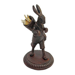 EttansPalace - Victorian Collectible Rabbit Cast Iron Matchstick Sculpture - Quality foundry cast iron collectible. Though our sweet, half-foot-tall Victorian hare once stood at the ready with matchsticks for lighting old stoves, his cargo is equally important today. A delightfully collectible sculpture on its own, our animal statue captures a jaunty-eared rabbit in mid-stride atop a circular base. Crafted in cast iron to capture details from folded paws to knee breeches, our animal sculpture makes a great housewarming or holiday gift!