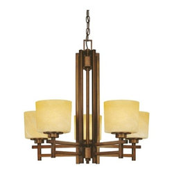 Dolan Designs Lighting - Five-Light Chandelier - 2810-133 - This Mission inspired five-light chandelier features a rich bronze finish which has a brushed accent color of a lighter bronze. The creamy yellow glass shades are textured slightly to give an appearance of scavo glass which adds to the character of this fixture. Comes with 6-feet of chain and 7-feet of wire. The ceiling canopy is 5-inches in diameter. Takes (5) 100-watt incandescent A19 bulb(s). Bulb(s) sold separately. UL listed. Dry location rated.