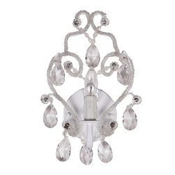 Tadpoles - White Diamond Chandelier Sconce - Boasting detailed glass beads and teardrop crystals, this resplendent sconce dresses up your living room wall with elegance as it supplies illumination.   12'' W x 12'' H x 7'' D Iron / acrylic / glass Requires 25 W candelabra bulb (not included) Assembly and hard-wire installation required Professional installation recommended Imported