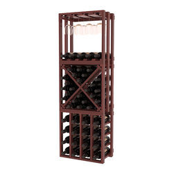 Lattice Stacking Cube - 3 Piece Set in Redwood with Cherry Stain + Satin Finish - Designed to stack one on top of the other for space-saving wine storage our stacking cubes are ideal for an expanding collection. This 3-piece set comes with (1) X-Cube, (1) Stemware Cube and (1) 4 Column Cubicle. Use as a stand alone rack in your kitchen or living space or pair with more stacking cubes as your wine collection grows.