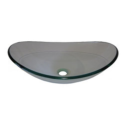 Novatto - CHIARO Clear Slipper Glass Vessel Sink, 21.5 Inches Wide - The Chiaro is an oval slipper vessel constructed of clear high tempered glass. It's a great choice for a new sophisticated look! Novatto uses advanced technology, including computerized glass processing, to produce unique glass basins with unmatched structural integrity and longevity. Internal testing has found these glass vessels to be very durable and forgiving. Items such as toothbrushes or small jewelry should not scratch the surface. For best cleaning results, a soft cloth with mild soap and water or a non-abrasive glass cleaner is recommended. Made with the highest standards of quality and creative design, Novatto sinks add art and function to any bath or powder room.