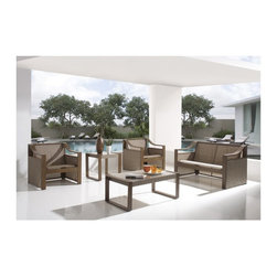 Hospitality Rattan - Hospitality Rattan Venetian Sling Patio 5 Piece Deep Seating Conversation Set - - Shop for Chairs and Sofas from Hayneedle.com! With one simple motion you can jump your patio or poolside 25 years ahead when you bring home the Hospitality Rattan Venetian Sling Patio 5 Piece Deep Seating Conversation Set - Dark Bronze with Tempered Glass. Each piece in this set starts with an extruded aluminum frame that's powder-coated in a classic shade of bronze. The powder-coating helps the metal frames resist fading and corrosion while outdoors. Instead of bulky foam cushions a sling of Twitchel textiles is stretched taut and ready to provide you with an exceptional level of comfort. Each table is also topped with a single sheet of tempered shatter-resistant glass.About Hospitality Rattan Hospitality Rattan has been a leading manufacturer and distributor of contract quality rattan wicker and bamboo furnishings since 2000. The company's product lines have become dominant in the Casual Rattan Wicker and Outdoor Markets because of their quality construction variety and attractive design. Designed for buyers who appreciate upscale furniture with a tropical feel Hospitality Rattan offers a range of indoor and outdoor collections featuring all-aluminum frames woven with Viro or Rehau synthetic wicker fiber that will not fade or crack when subjected to the elements. Hospitality Rattan furniture is manufactured to hospitality specifications and quality standards which exceed the standards for residential use. Hospitality Rattan's Environmental Commitment Hospitality Rattan is continually looking for ways to limit their impact on the environment and is always trying to use the most environmentally friendly manufacturing techniques and materials possible. The company manufactures the highest quality furniture following sound and responsible environmental policies with minimal impact on natural resources. Hospitality Rattan is also committed to achieving environmental b