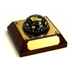 Bey-Berk International Compass on Wood Base - Tarnish Proof - Get a bearing on good taste with the Bey-Berk International Compass on Wood Base T.P.. Perched atop a rich-looking mahogany base, this functional compass is a nice addition to your desktop or study. Includes an engraveable brass plate to display your sentiments.About Bey-Berk InternationalThis quality item is created by Bey-Berk. For more than 20 years, Bey-Berk International has crafted and hand-selected unique gifts and accessories from around the world to meet the demands of discerning customers. With its line of elegant and distinctive products, Bey-Berk has established itself as a leader in luxury accessories.