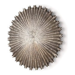 Octavia Large Metal/Wood Wall Plaque - Jagged edges contrast with the rich sweep of corrugated rays in the Octavia Wall Plaque, a striking transitional element for continuing a theme of dramatic circular elements try it to balance a clock or mirror or for giving traditional arrangements of square frames an eye-catching hit of novelty. A dark silver finish gives more shimmer to the intricate shape of the wall art piece.