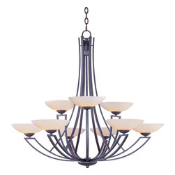 Maxim Lighting - Maxim 13606SWBT - Nine Light Satin White Glass Burnish Texture Up Chandelier - Category: Multi-Tier Chandelier