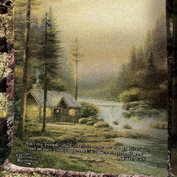 Manual - Thomas Kinkade Evening in the Forest Tapestry Throw Blanket 50 Inch x 60 Inch - This multicolored woven tapestry throw blanket is a wonderful addition to any home. Made of cotton, the blanket measures 50 inches wide, 60 inches long, and has approximately 1 1/2 inches of fringe around the border. The blanket features a depiction of Thomas Kinkade's 'Evening in the Forest', with the Bible verse 'And my people shall dwell in a peaceable habitation, and in sure dwellings, and in quiet resting places - Isaiah 32:18' printed underneath. Care instructions are to machine wash in cold water on a delicate cycle, tumble dry on low heat, wash with dark colors separately, and do not bleach. This comfy blanket makes a great gift for friends and family.