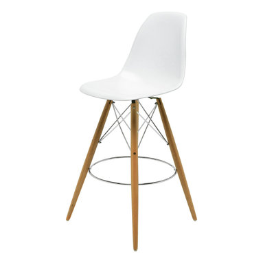 Kathy Kuo Home - Eiffel Reproduction White Plastic Oak Wood Modern Bar Stool - Pair - Join the party with this pair of eye-catching oak bar stools. Mixing modern with Industrial, this stylish set has highly polished white plastic seats, oak legs and chromed steel support rods. Slim, yet sturdy, these Eiffel-inspired stools serve up casual comfort anytime of day.