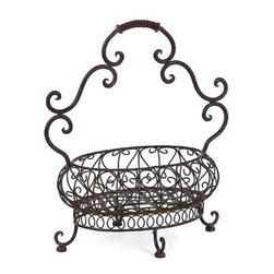 Vintage French Metal Filigree Basket - *Robust iron filigree basket.