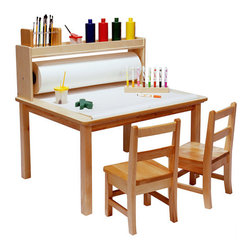 """Steffy - Arts and Crafts Table - This multi-purpose table features a mounted paper roll that can be pulled over the tabletop surface and a deep storage area above the paper roll. Tabletop has a wood grained, easy clean plastic laminate top. Solid maple table legs are available in five different heights, from 18"""" to 26"""" high, to accommodate any child. Please specify height. Paper rolls must be purchased separately (see 'Related Items'). Chairs sold separately (see SKU #ZK1229 or ZK1237). Features: -Features mounted replaceable paper roll holder -Deep storage area -Easy-clean laminate top -Solid maple table legs available in 18"""", 20"""", 22"""", 24"""" and 26"""" heights -Overall Dimensions: 18.75 - 24.75"""" H x 36"""" W x 30"""" D"""