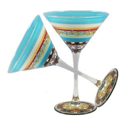 Golden Hill Studio - Mosaic Carnival Martini Glasses Set of 2 - You've got the art of mixology down cold. Now all you need are the martini glasses to show off your talents. What better choice than these little gems of hand-painted mastery? They're so cool, you may not need to chill them.