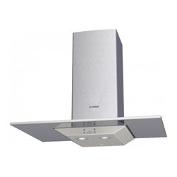 """Bosch - 300 Series DKE9665PUC 36"""" Wall Mount Hood with 600 CFM Blower  4 Fan-Speed Setti - Bosch brings you the DKE965PUC 3630 wall mount hood with 600 CFM blower This range hood features a 4-speed electronic control for simple activation and digital display Elegant design with tempered glass canopy welded and polished seams give this rang..."""