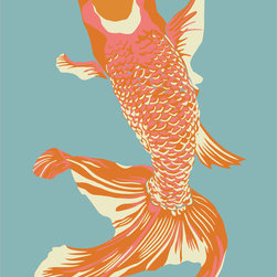 """Emma at Home - Wholefish Print, Sea, 20"""" x 30"""" - This is a nice modern take on a classic Asian design. The colors feel fresh and contemporary but not over the top. It would look elegant matted and framed in a dining room."""