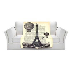 DiaNoche Designs - Fleece Throw Blanket by Madame Memento - Eifel Tower - Original Artwork printed to an ultra soft fleece Blanket for a unique look and feel of your living room couch or bedroom space.  DiaNoche Designs uses images from artists all over the world to create Illuminated art, Canvas Art, Sheets, Pillows, Duvets, Blankets and many other items that you can print to.  Every purchase supports an artist!