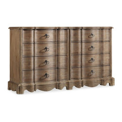 Hooker - Hooker Furniture Corsica Drawer Dresser in Light Natural - This dynamic dressers ambiance is one of simple beauty. Gently sculpted drawer fronts feature unique shapes and subtle curves. Heart-shaped drop bail pulls finished in burnished bronze bring a historic feel to this piece.