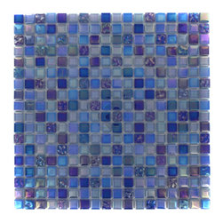 """GlassTileStore - Whimsical Cobalt Lagoon Glass Tile - Whimsical Cobalt Lagoon Glass Tile             Add a pop to any room with these beautiful tiles that are versatile; great to use for back splash for a kitchen or a fireplace. This tile is great to use for the bathroom, kitchen or pool installation.         Chip Size: 1/2"""" x 1/2""""   Color: Shades of Blue and Iridescent   Material: Glass   Finish: Polished and Textured   Sold by the Sheet - each sheet measures 11 3/4"""" x 11 3/4"""" (0.96 sq. ft.)   Thickness: 3mm            - Glass Tile -"""