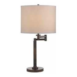 Design Classics Lighting - Bronze Three-Way Drum Table Lamp with Swing-Arm - 1902-1-604 SH9556 - Contemporary / modern remington bronze 1-light table lamp. Swing arm has a maximum 9-inch extension. Takes (1) 100-watt incandescent three-way bulb(s). Bulb(s) sold separately. UL listed. Dry location rated.