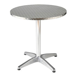 Euro Style - Aluminum Round Indoor/Outdoor Table - Allan - The Allan aluminum table will bring a shine to any space ��� at home or in a commercial location. It features a round textured top and four-pronged base for indoor or outdoor enjoyment. Choice of surface diameter for a great fit with contemporary or upscale decor. Typical for restaurant d̩cor, this all-aluminum table is so simple in structure that it fits well in almost any setting. The round, broad stainless steel top offers enough space for cards games, family meals, or displaying that extra home computer system. * Allan Aluminum Round Indoor/Outdoor Table. Aluminum base. Round Stainless Table top with Wrap Around Edge. Some Assembly Required (Assembly Instructions). 27.5 in. Diam. x 28 in. H