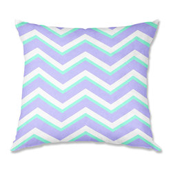 DiaNoche Designs - Pillow Woven Poplin from DiaNoche Designs by Monika Strigel Purple Mint Layer I - Toss this decorative pillow on any bed, sofa or chair, and add personality to your chic and stylish decor. Lay your head against your new art and relax! Made of woven Poly-Poplin.  Includes a cushy supportive pillow insert, zipped inside. Dye Sublimation printing adheres the ink to the material for long life and durability. Double Sided Print, Machine Washable, Product may vary slightly from image.
