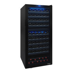Vinotemp - Vinotemp - 110-Bottle Dual-Zone Touch Screen Wine Cooler - The ultra-sleek 110 Bottle Dual-Zone Wine Cooler with Seamless Glass Door by Vinotemp adds a touch of sophistication to any room. With 2 zones, the frame-less VT-122TS-2Z allows you to store reds and whites separately at their ideal temperatures. With its seamless, all-glass technology, this unit allows you to house approximately 44 standard bottles in the top zone and 66 bottles in the lower zone.