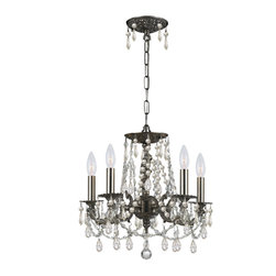 """Crystorama - Gramercy Chandelier - Clear Hand Cut Crystal Wrought Iron Chandelier. Takes 5 - 60 w/c bulbs. Chain: 72"""" Wire: 120"""""""