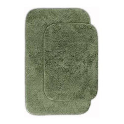 """Garland Rug - Bath Mat: Glamor Deep Fern 21"""" x 34"""" Bathroom 2 Piece Rug Set - Shop for Flooring at The Home Depot. Beautify your bathroom and make your feet happy with Glamor Bath Rugs. These rugs will compliment any bathroom decor. The distinctive pinstripe pattern gives a modern, but yet traditional sleek design. Glamor is made with 100% Nylon for superior softness and colorfastness. Proudly made in the USA."""