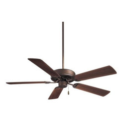 """Minka Aire Fans - Contractor 52 Ceiling Fan by Minka Aire Fans - Affordable performance and reliability. Energy efficient and offered in a variety of popular finish and blade combinations, the Minka Aire Contractor 52 in. Ceiling Fan is a can-do fan for use in practically any space. It's compatible with a range of remotes and can be easily adapted for use with a light kit.The Minka Group, located in Corona, CA, offers a variety of products, including Minka Aire fans, Minka Lavery lighting, and George Kovacs fans and lighting.The Minka Aire Contractor 52 in. Ceiling Fan is available with the following:Details:Light kit available (see Related Products)5 bladesPull chain3-speed reversible motorCompatible with a range of remotes (see Related Products)Reverse switch located on switch cup below housingRound ceiling canopy4"""" downrod52"""" blade diameter12 degree blade pitchAC motor"""