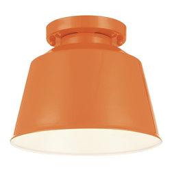 Murray Feiss - Murray Feiss Freemont High-Gloss Orange Semiflush-Mount Light Fixture - Murray Feiss SF314SHOG Freemont 1 Bulb Hi Gloss Orange Semi Flush